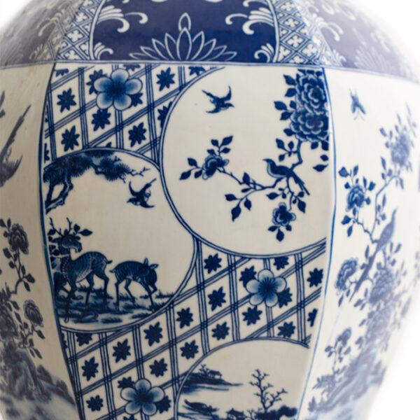 藍色花鳥小鹿瓷器 C202000003 中間