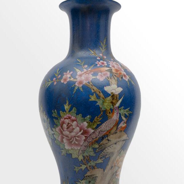 藍底花鳥花瓶 C202000004