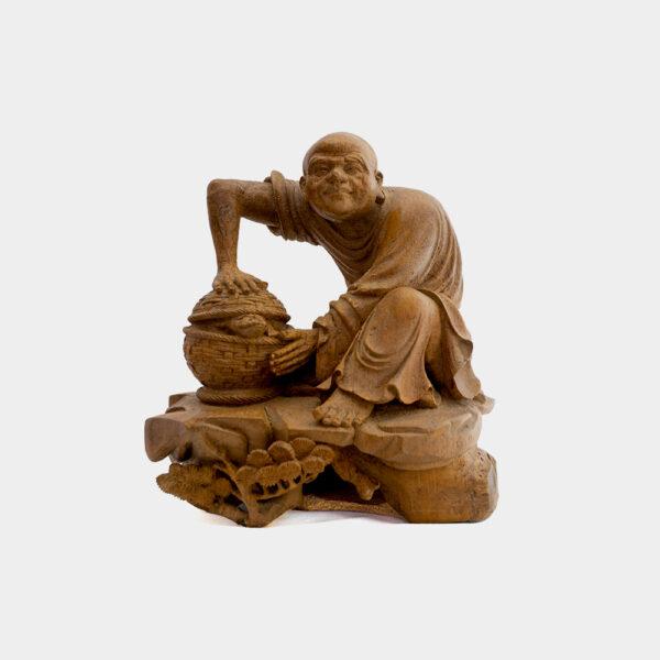 木雕竹籃人物 S202000019