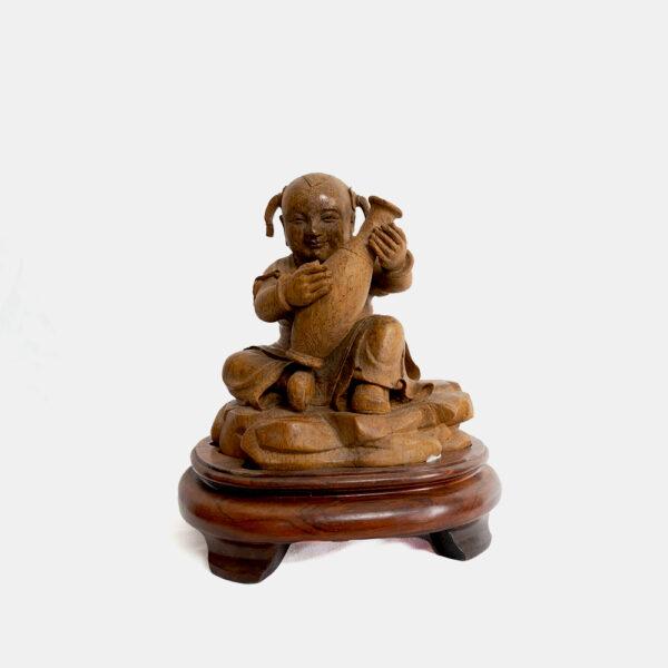 木雕柳葉瓶與孩童 S202000018