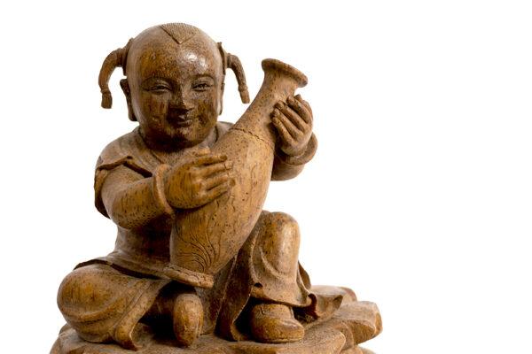 木雕柳葉瓶與孩童 S202000018 正