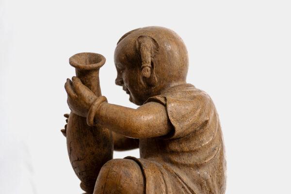 木雕柳葉瓶與孩童 S202000018 側