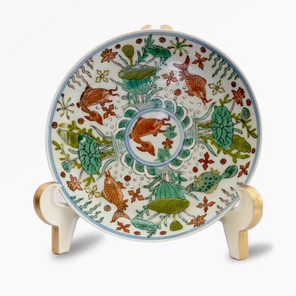 粉彩礬紅魚藻紋盤 C202000007