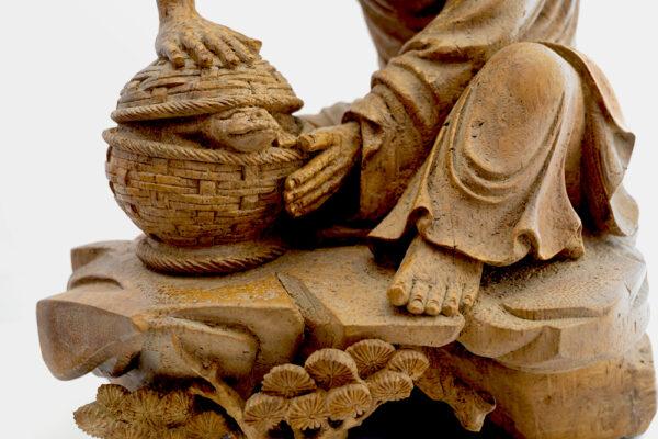 木雕竹籃人物 S202000019 中