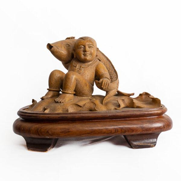 木雕鯉魚與孩童 S202000016