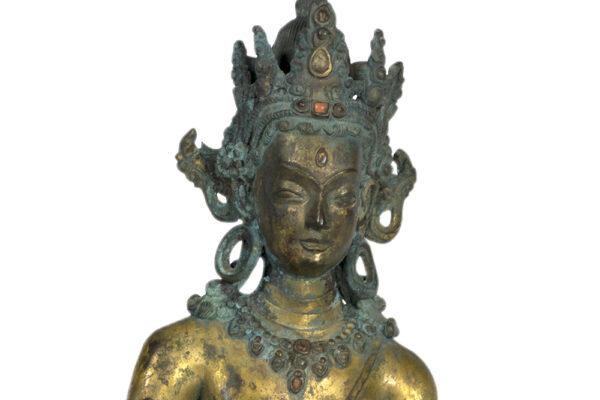 S202000030 十三十五世紀 尼泊爾 鎏金銅蓮花手菩薩立像上